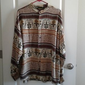 Hutspah long sleeve shirt Vtg Retro sz XL